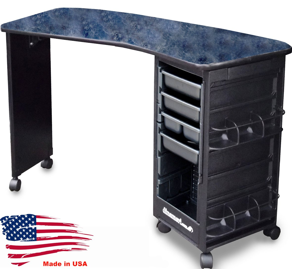M600-E Econo Manicure Nail Table Curved Black Marble Lamininated Top Made in USA by Dina Meri by Dina Meri (Image #1)
