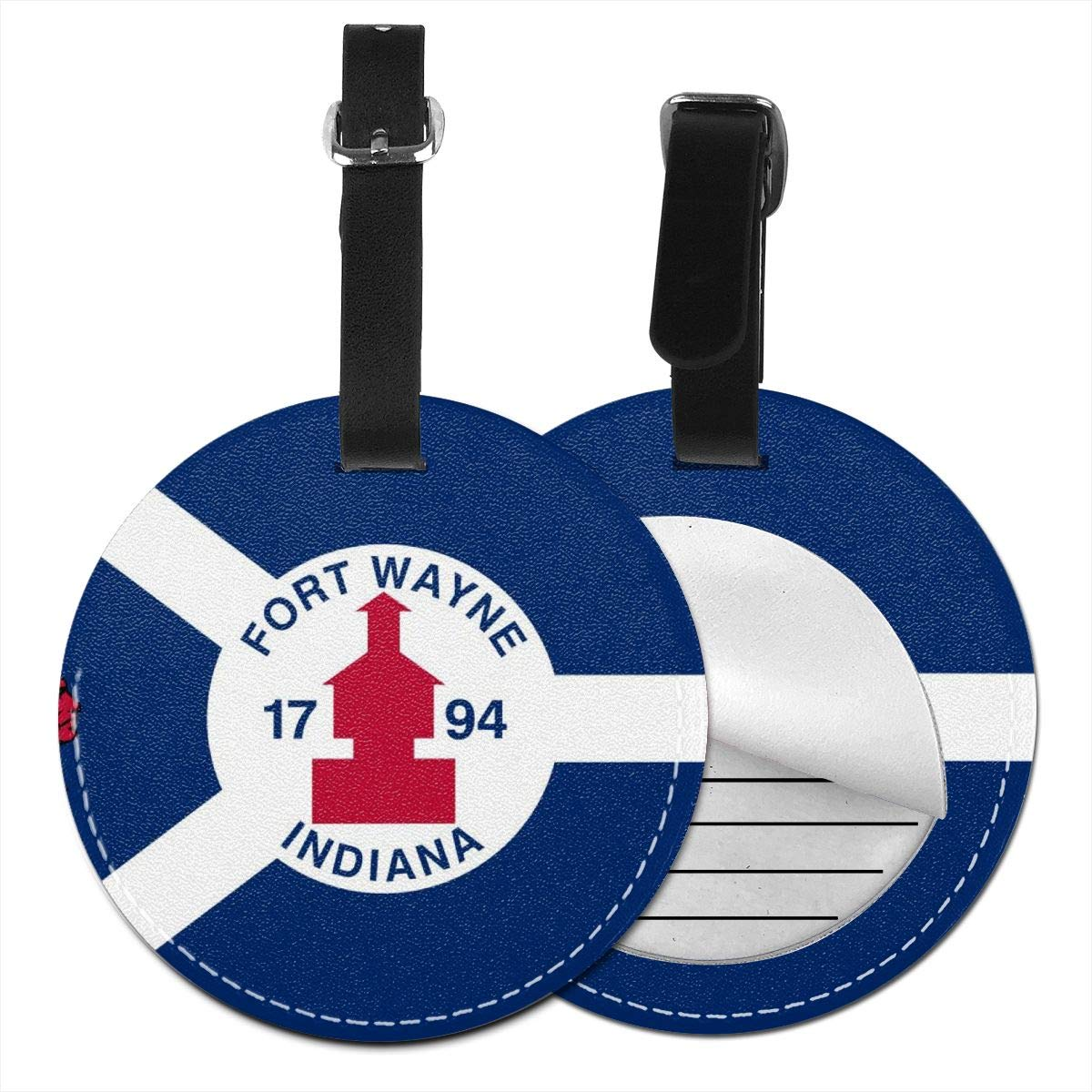 Simoner Fort Wayne Flag Round PU Leahter Luggage Tags Privacy Protection Travel Bag Labels Suitcase Tags