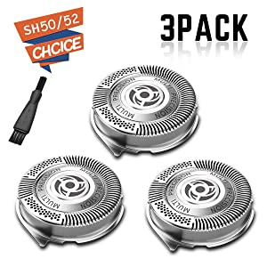 3-Pack SH50 / 52 Replacement Head (Non- Original Heads) for Philips Electric Shaver Series 5000 with Sharp Blades, Super Lift and Easy Cut