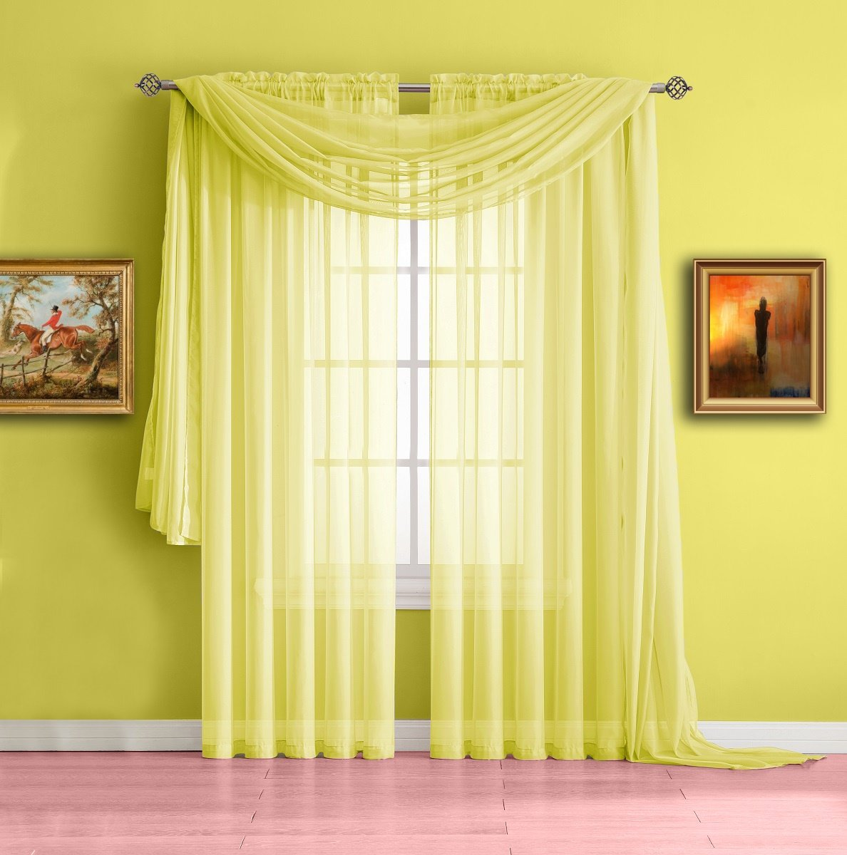 Warm Home Designs Extra Long Yellow Sheer Window Curtains