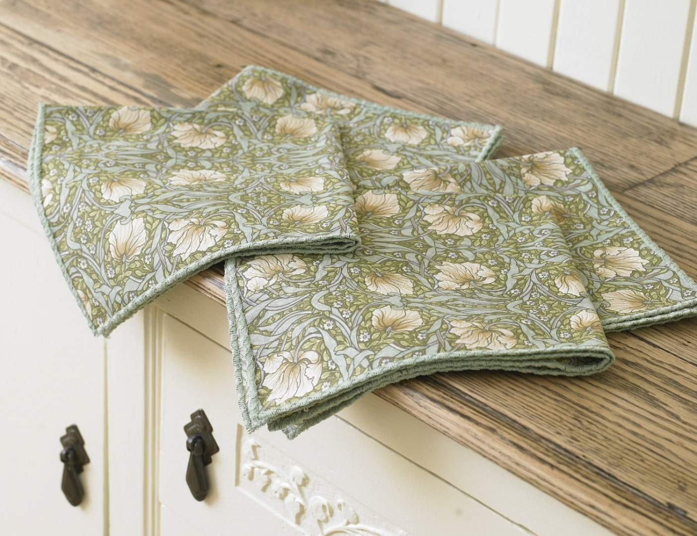 Licensed William Morris Pimpernel Green Floral 100% Cotton Napkins / Serviettes Laura's Beau Ltd
