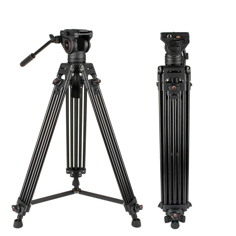 CAYERヘビーデューティビデオ三脚、64インチBV30ビデオカメラ三脚システムアルミ脚、K3フルードヘッド、ミッドレベルスプレッダー、最大ローディング13.2 LB、DSLR撮影、プラス1ボーナスクイックリリースプレート、キャリングバッグ   B078X8GJWF