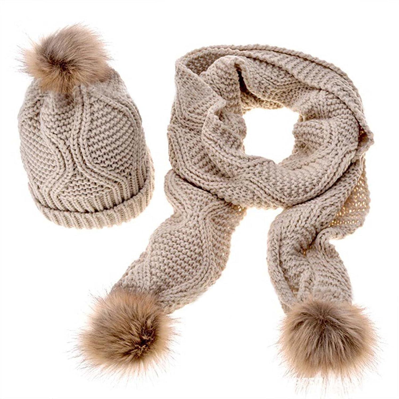 Thenice Winter Schal Beanie Hat Damen Strickmütze Geschenk Set