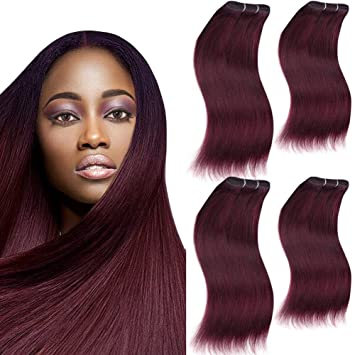 Amazon sleek 4 bundles of short natural yaky weave hair sleek 4 bundles of short natural yaky weave hair plum red 8quot x pmusecretfo Image collections