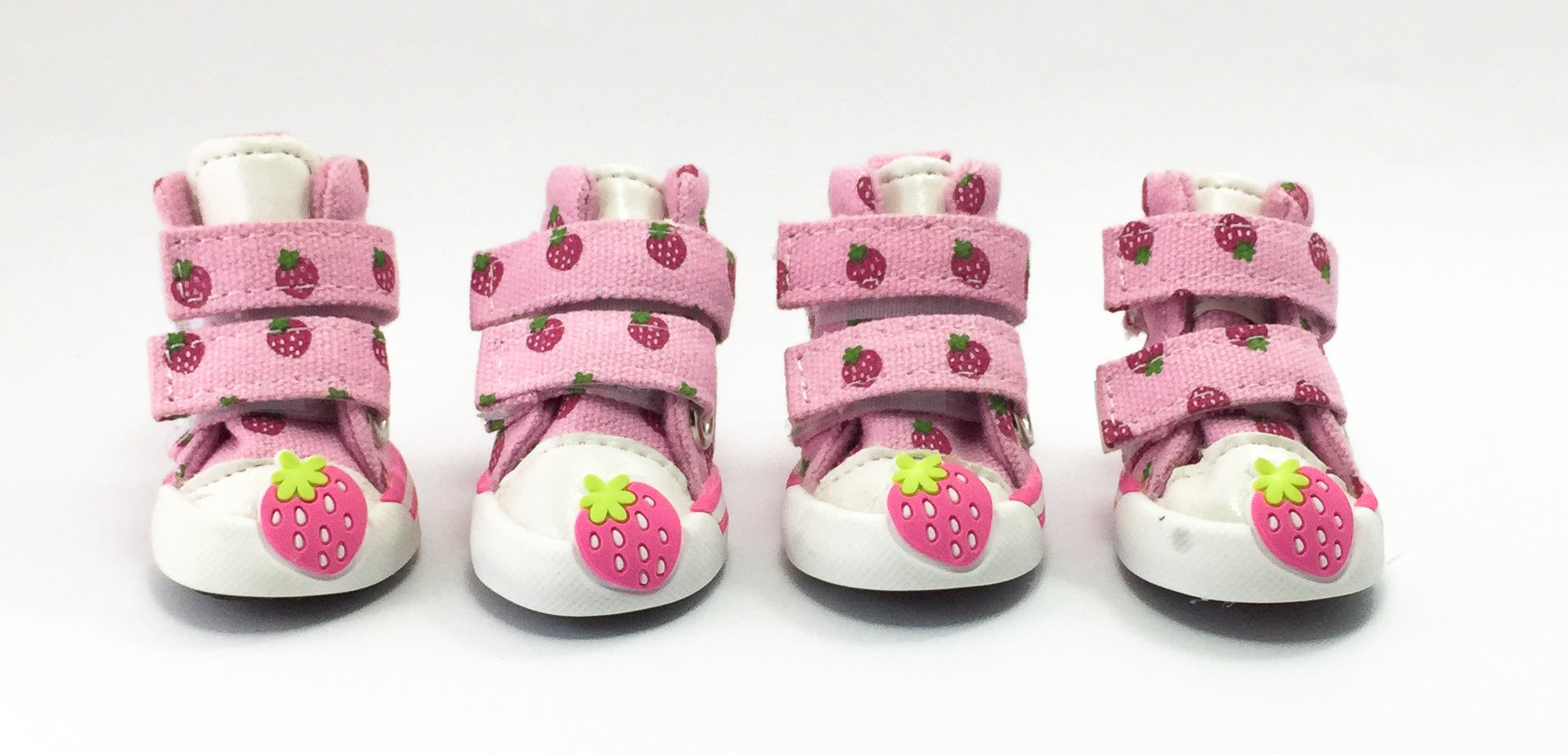 Naughty Puppy Best quality cute strawberry dog booties for small dog by canvas fabric with fashionable style, pink color #2
