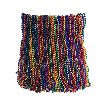 Rainbow Mardi Gras Beads 33 inch 7mm, 6 Dozen, 72 Necklaces: Toys & Games