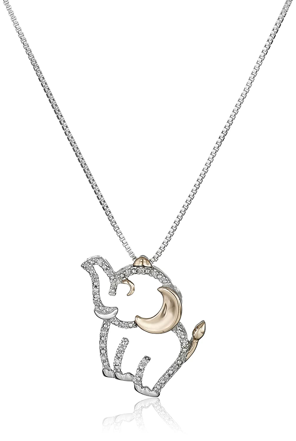 6971a96119048 Sterling Silver and 14k Rose Gold Diamond Elephant Pendant Necklace