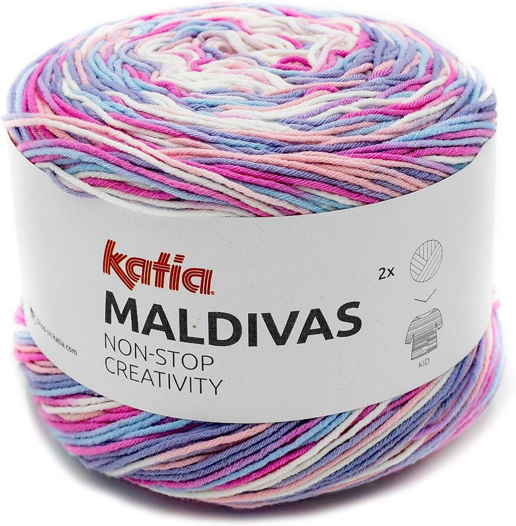 Katia Maldivas FB Bobbel Fil d/égrad/é de Couleur Fil de Coton m/élang/é 150 g 88