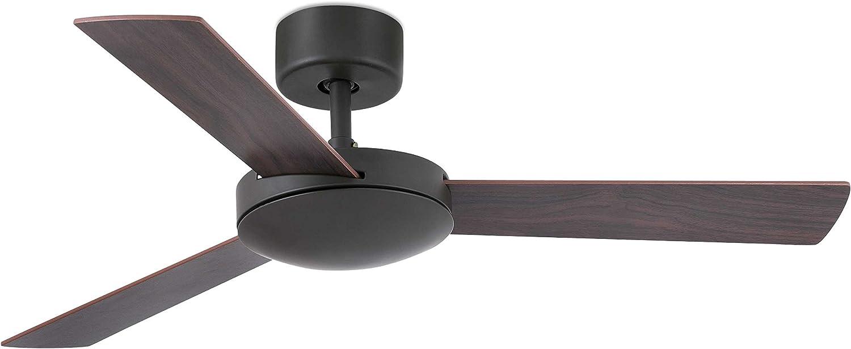 Faro Barcelona 33605 - MALLORCA Ventilador de techo sin luz, acero + 3 palas madera mdf reversibles marrón/cerezo