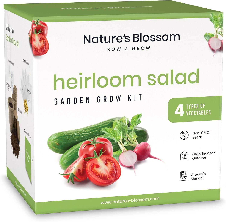 Nature's Blossom Heirloom Vegetable Garden Kit - Gardening Supplies Set to Grow 4 Non-GMO Vegetable Plants from Seeds. Garden Gift for Beginner Gardeners.