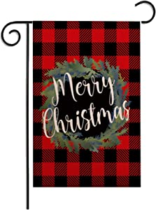 Munzong Merry Christmas Garden Flag Vertical Double Sided, Winter Wreath Red Black Buffalo Check Plaid Rustic Farmhouse Burlap Flags 12.5 x 18 Inch for Outside, Home Yard Seasonal Xmas Party Decor