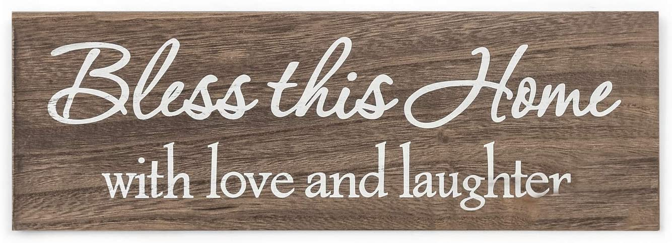 Decent Home Bless This Home with Love and Laughter Wall Plaque Art Sign for Home Decor