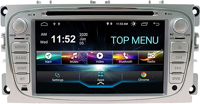 Swtnvin Android 10 0 Autoradio Headunit Passend Für Ford Mondeo Focus Fusion Transit Fiesta Galaxy Dvd Player Radio 7 Zoll Hd Touchscreen Gps Navigation Mit Bluetooth Wifi Swc 2gb 80gb Silber09 Navigation