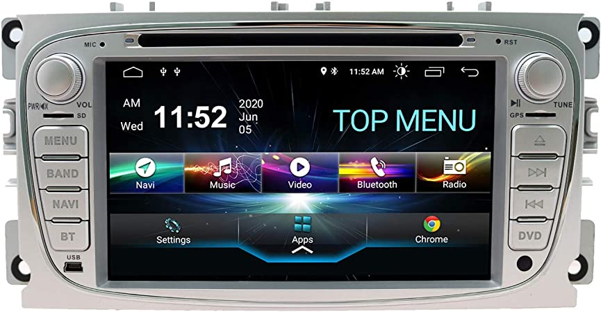 SWTNVIN Android 10.0 Coche Audio Cabezal estéreo Fits for Ford Mondeo Focus Fusion Transit Fiesta Galaxy Reproductor de DVD Radio 7Pulgadas HD ...