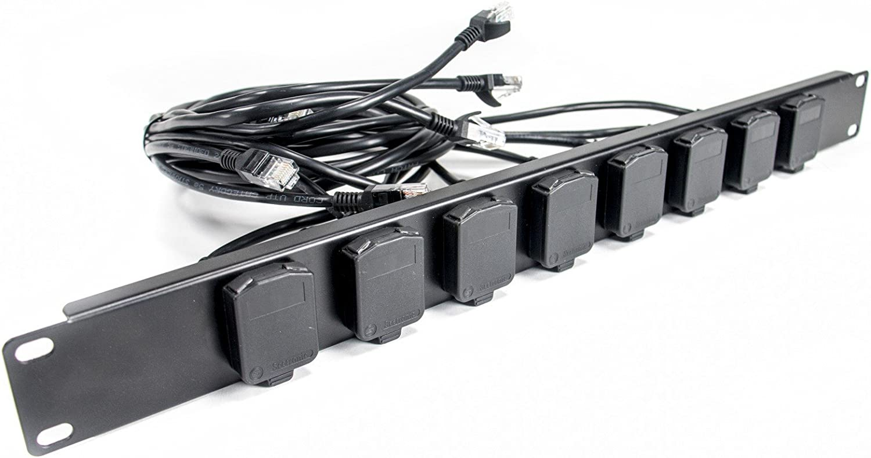 Elite Core EC-EBO8-HC 8 Channel Tactical Ethernet Ethercon Breakout w//Seetronic RJ45 Connectors /& Hinged Covers