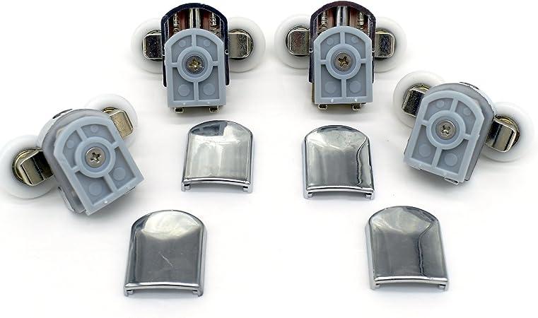 Set de rodamientos de mampara corredera de ducha doble, con guías y ruedas de 25 mm de diámetro (4 unidades): Amazon.es: Bricolaje y herramientas