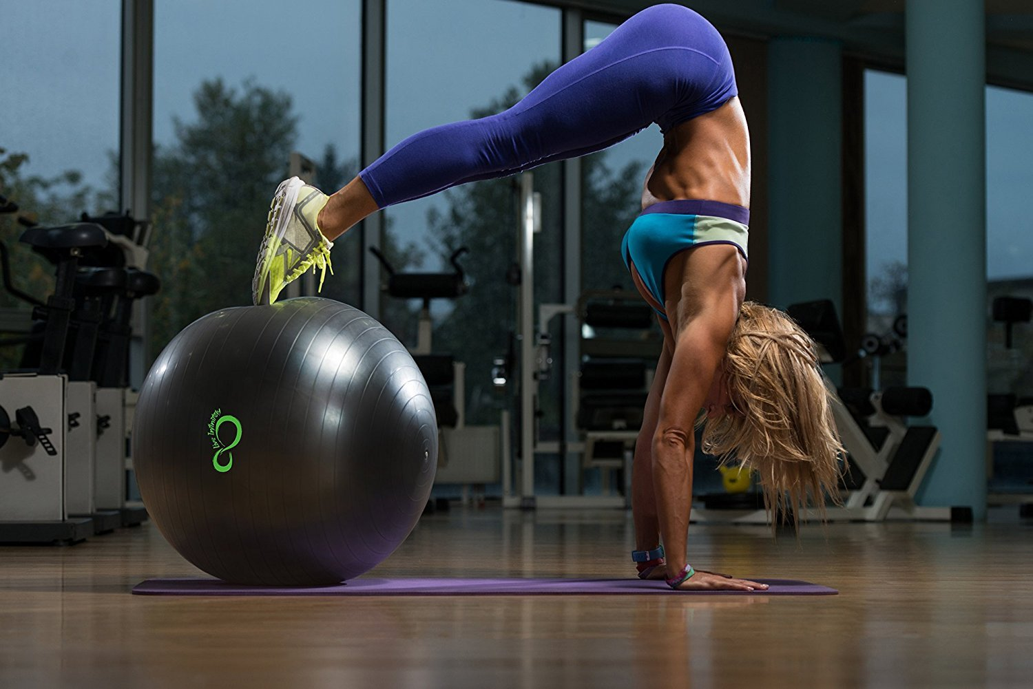 Live Infinitely Exercise Ball (55cm-95cm) Extra Thick Professional Grade Balance & Stability Ball- Anti Burst Tested Supports 2200lbs- Includes Hand Pump & Workout Guide Access Grey 95cm by Live Infinitely (Image #5)