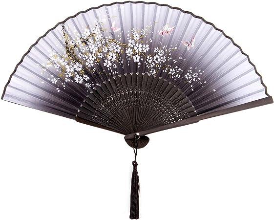 Femme Soie Papillons Sakura Motif éventail Japonais Eventaille Vintage C0C