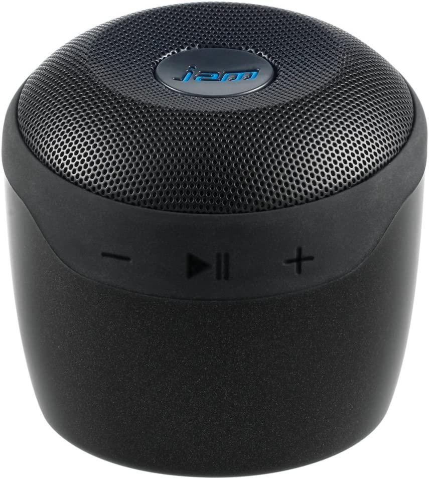 JAM Voice Portable Wifi and Bluetooth Speaker with Amazon Alexa, Stream Music, Pair Multiple Speakers, Rechargeable, Palm Sized, USB Charging Cable, Connect to Home WiFi Network, HX-P590BK Black