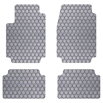 Intro-Tech Hexomat Front and Second Row Custom Floor Mats for Select Honda CRV Models - Rubber-like Compound (Gray)