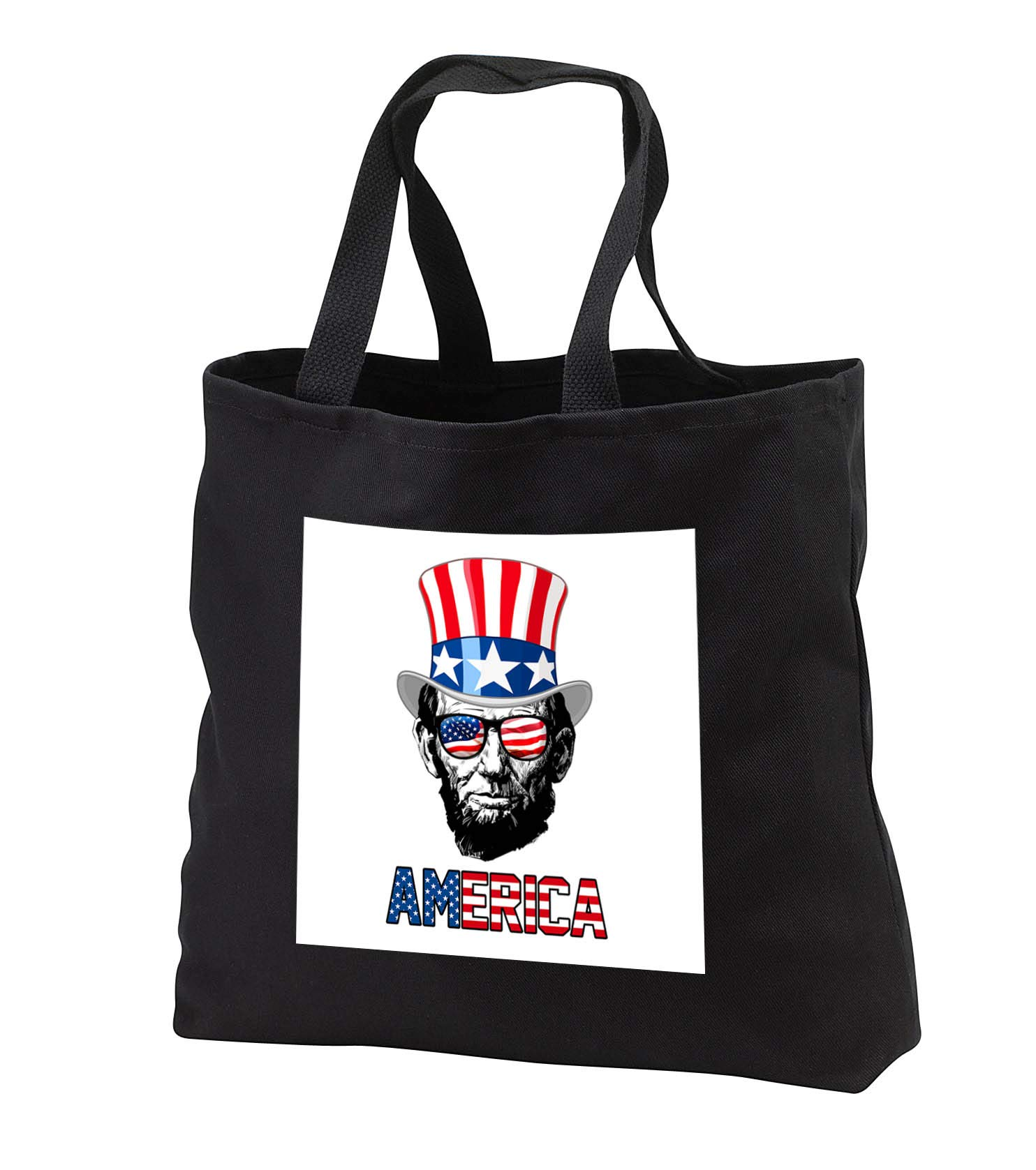 Carsten Reisinger - Illustrations - Abraham Lincoln wearing a USA flag top hat and sunglasses America - Tote Bags - Black Tote Bag 14w x 14h x 3d (tb_293414_1)