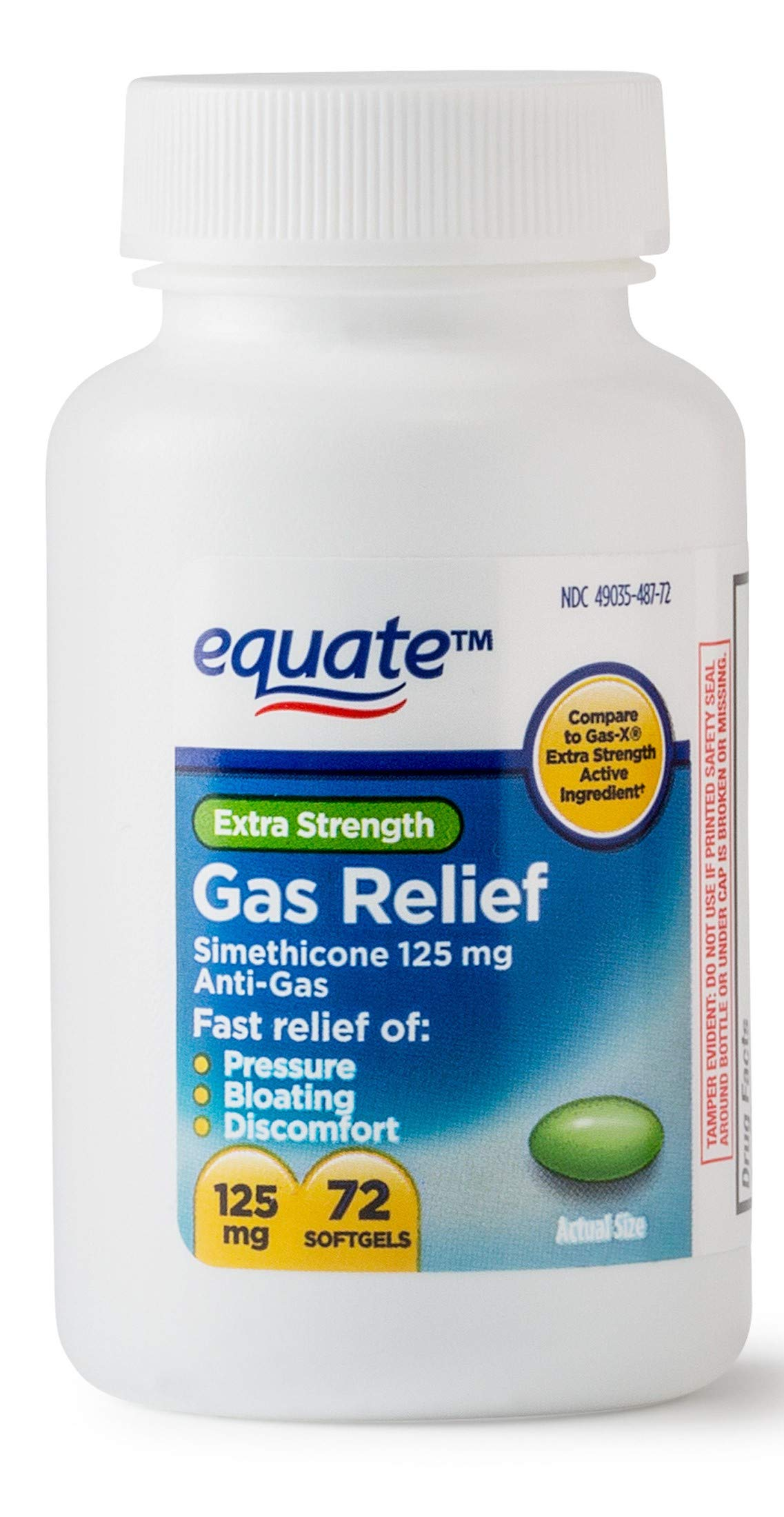 Equate Extra Strength Gas Relief 125 mg 72 Softgels (Twin Pack) by Equate