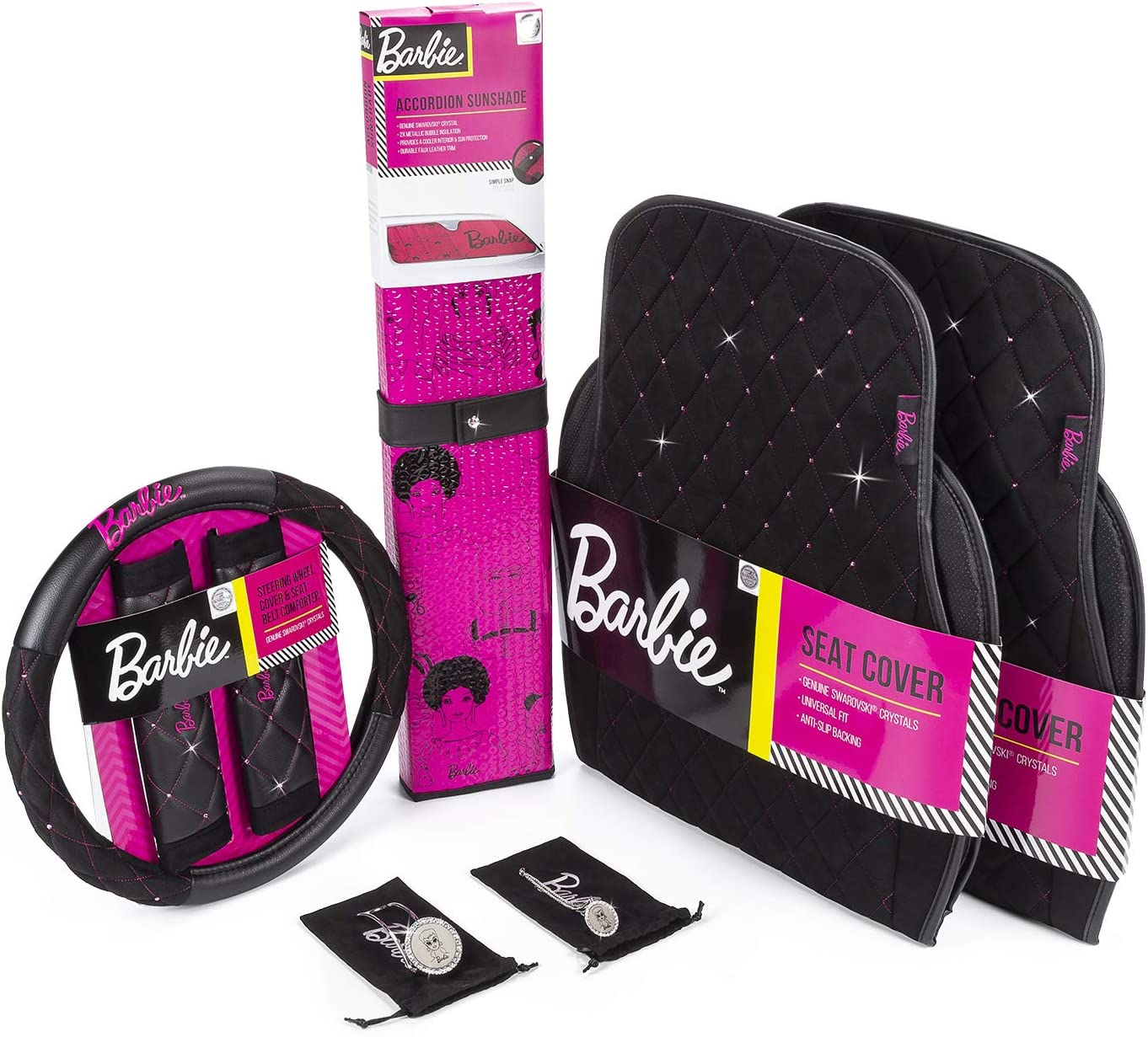 LUNNA AMA-013 Barbie 60th Anniversary Officially Licensed Collectors Female Style Seat, Steering Wheel Cover, Sunshade, Car Jewelry Kit Embellished with Swarovski Crystals