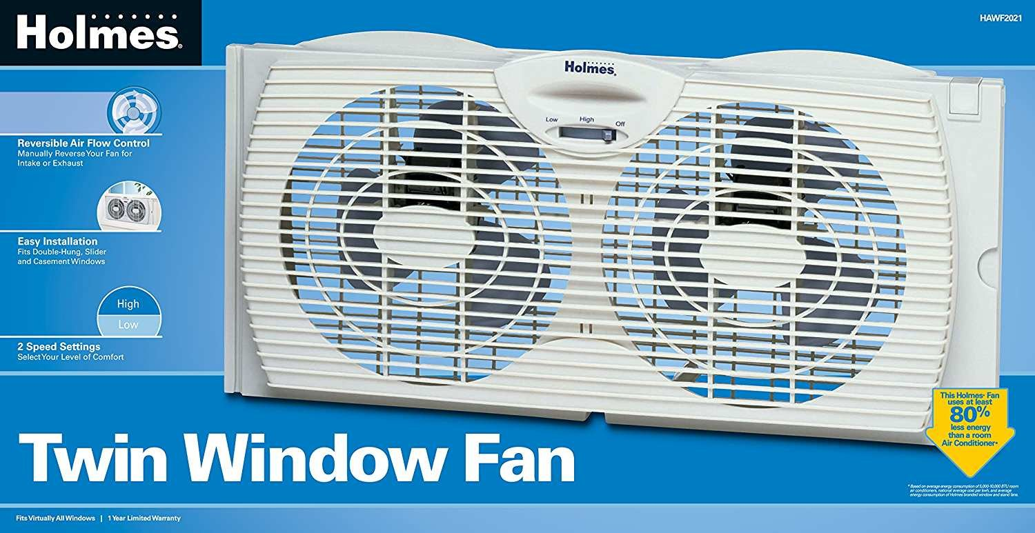 Holmes Dual Blade DYIJgc Twin Window Fan, White, 2 Units