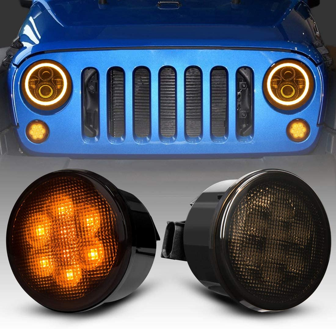 White Didieyes 1 Pair Smoked Lens Amber Yellow LED Grille Front Bumper Turn Signal Fog Lights with White DRL Halo Light for Jeep Wrangler JK 07-17