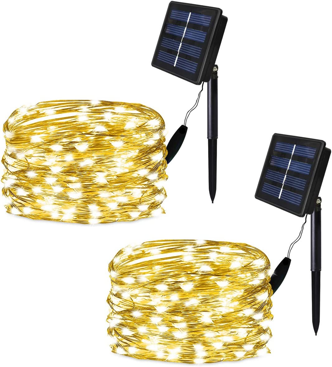 SOLARMKS Solar String Lights, Outdoor String Lights 100 LED Fairy Lights Waterproof Copper Wire Lights for Christmas,Patio,Lawn,Garden Decorations,Warm White,2 of Pack