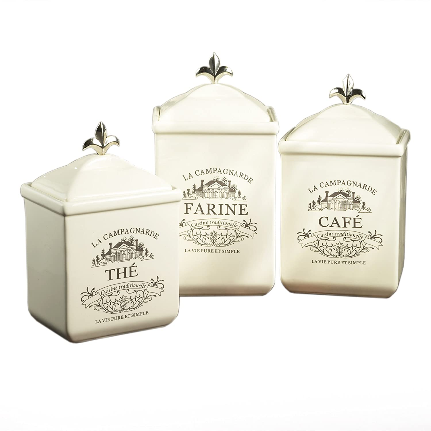 American Atelier Maison 3-Piece Cookie Jar Set, White Jay Imports 6004-CAN