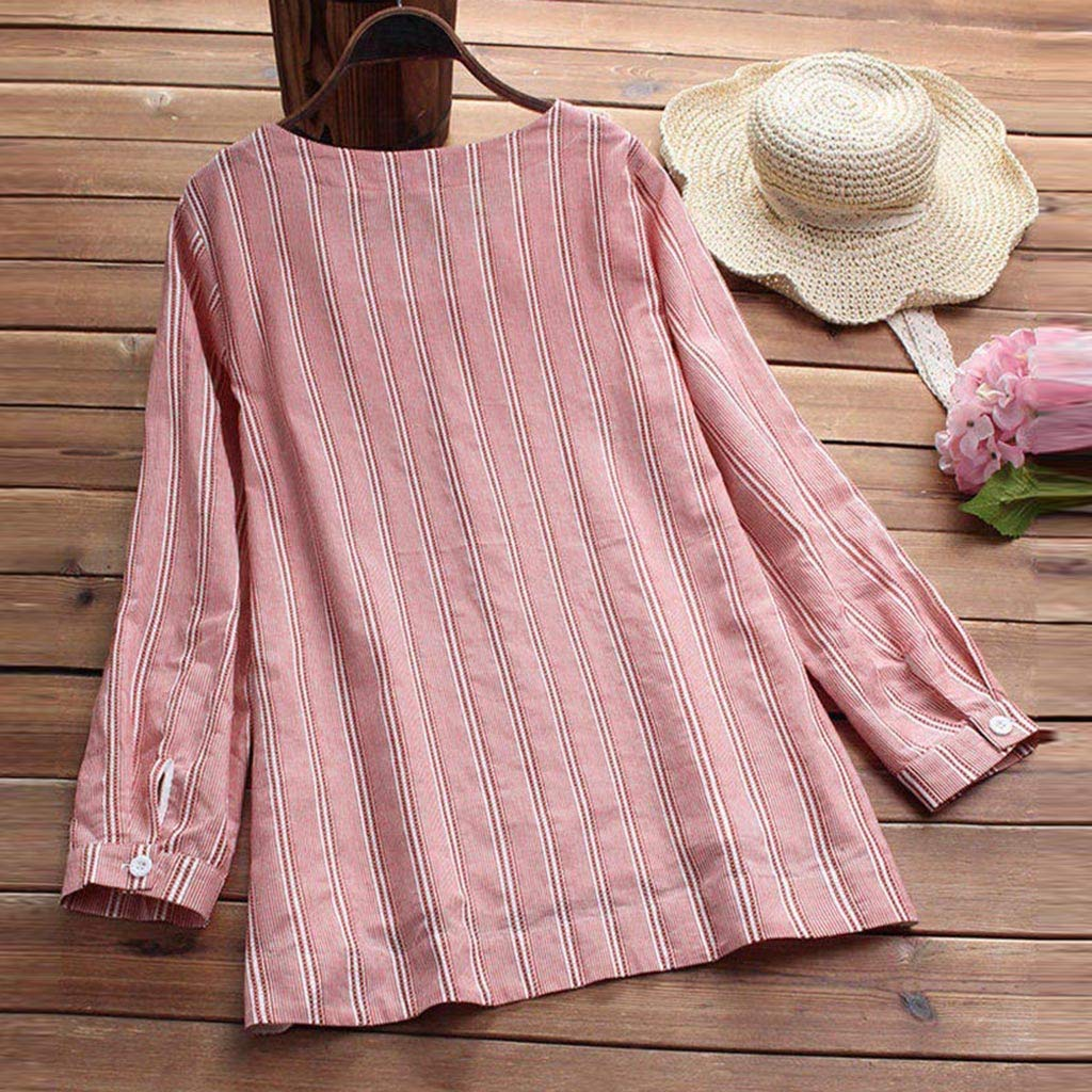 Willow S Women Fashion Casual Striped Cat Print Pocket Embroidery T-Shirt Long Sleevel Loose Tops Blouse by Willow S (Image #3)