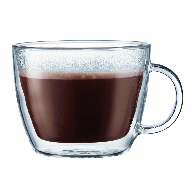 Bodum Bistro Double-Wall Insulated Glass Café Latte Mug (Set of 4 Mugs)