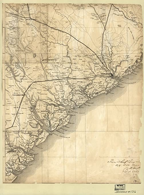 Amazon Com Infinite Photographs Map 1860 Of The Coast Of South Carolina From Charleston To Savannah Atlantic Coast Atlantic Coast Sc Charleston Charleston Sc Georgia Savannah Savannah Ga South Carolina Posters Prints