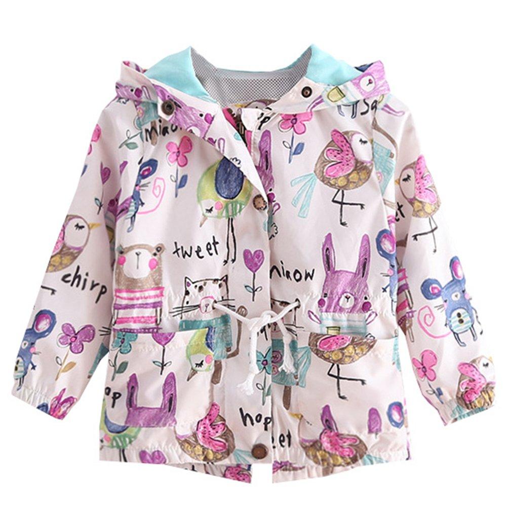 lymanchi Toddler Girls Hooded Lightweight Windbreaker Jackets Coats Cartoon 1-6Y 5-6T