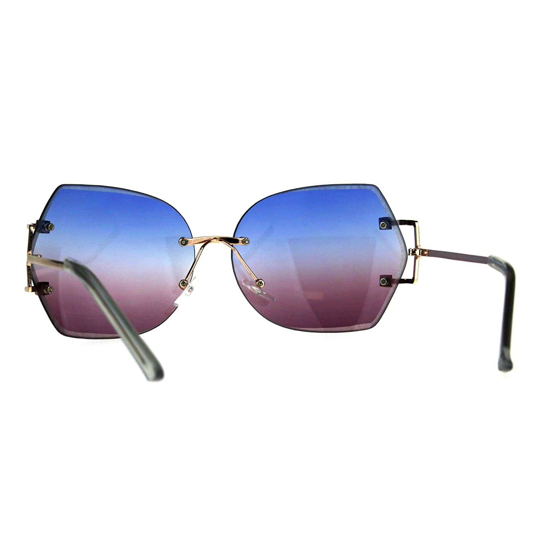 e3e43e55ef Amazon.com  Womens Rimless Butterfly Designer Fashion Diva Sunglasses Blue  Purple  Clothing