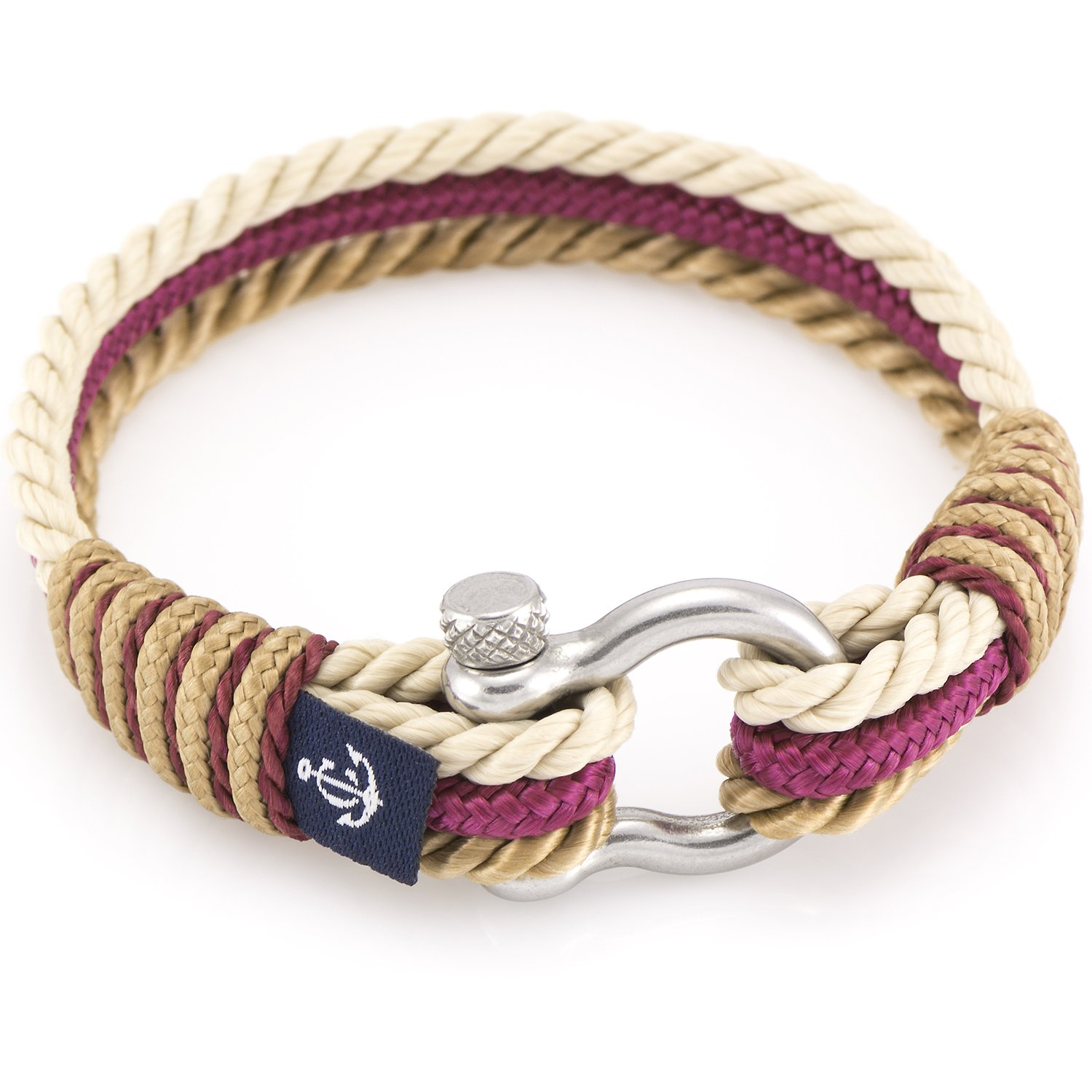 colors paracord products rope knot mystic stripe nautical knotwork bracelet sailboat shackle blue