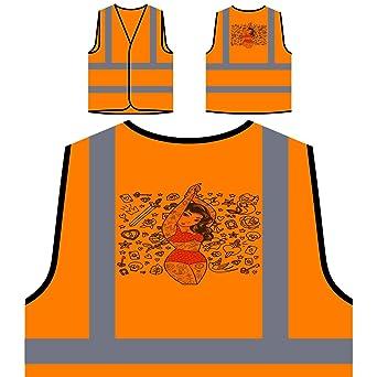 Tatuaje pin up mujer doodle Chaqueta de seguridad naranja ...