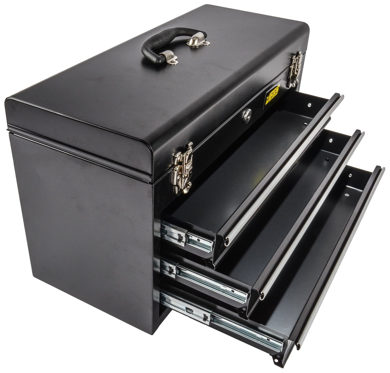 JEGS 81400 Black 3 Drawer Professional Tool Box for Garage, Truck, or Trailer by JEGS