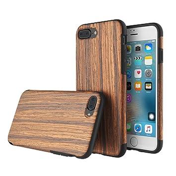 hot sale online b141c b2293 iPhone 7 Plus case,ROCK®Natural Wood Flexible TPU: Amazon.co.uk ...