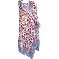 """Pure Cotton Hand Block Print Sarong Womens Swimsuit Wrap Cover Up Long (73"""" x 44"""")"""