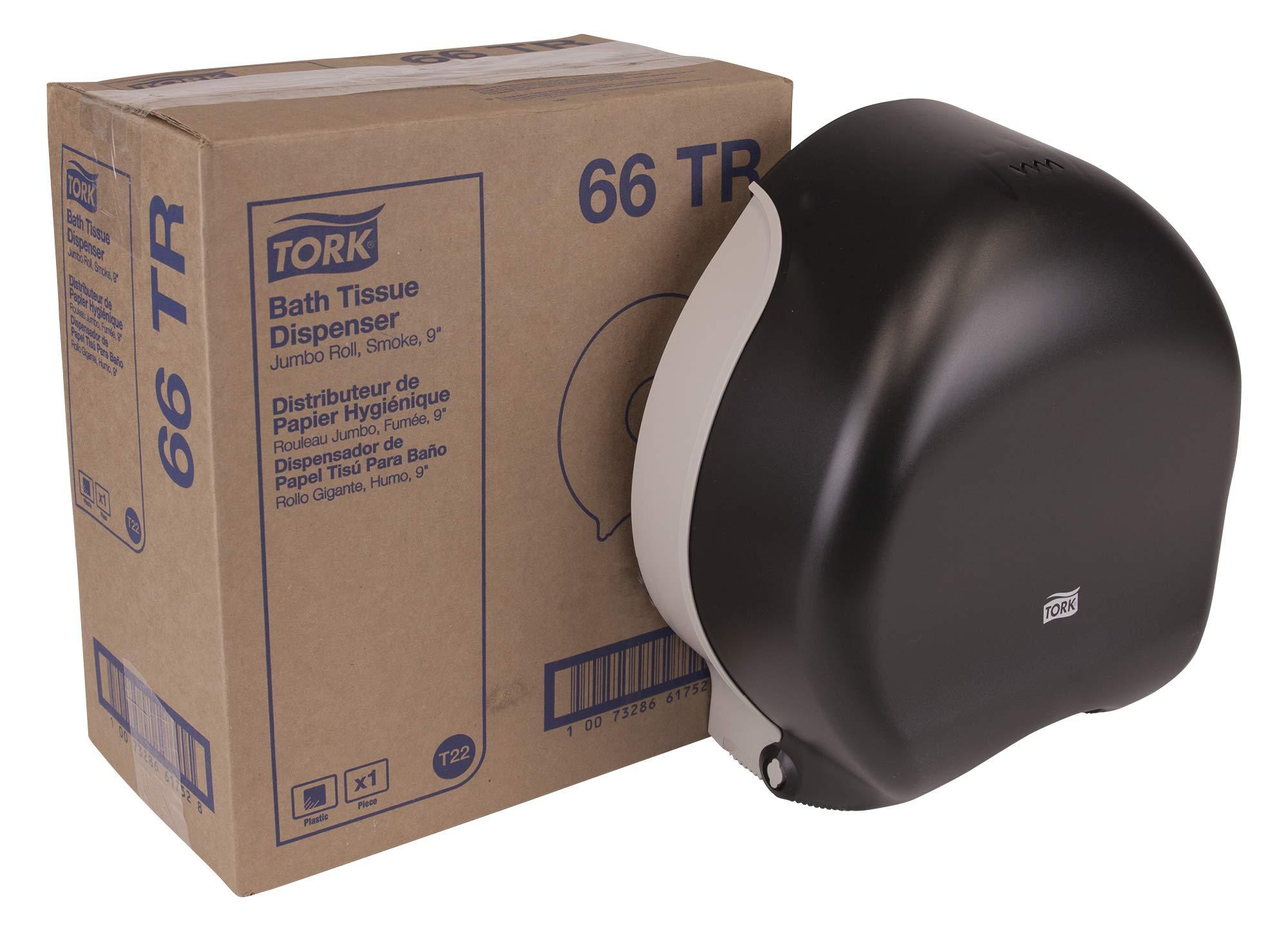 Tork 66TR Jumbo Bath Tissue Roll Dispenser, 9 inch, Plastic, 12'' Height x 10.63'' Width x 5.75'' Depth, Smoke (Case of 1) for use with Tork TJ0912A, TJ0921A, TJ0922A, TJ0924