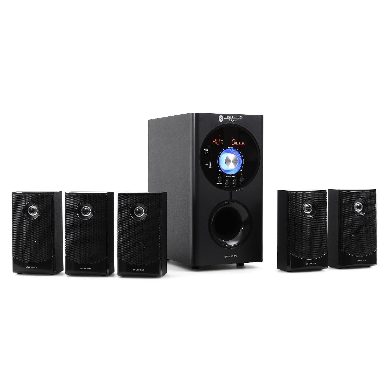 Auna Concept 620 • Système Son Surround 5.1 • Home cinéma • Système d'enceintes • 95 Watt RMS • Sidefiring-Subwoofer 16, 5cm (6, 5') • Bassreflex • 5 Enceintes Satellites • Bluetooth • Port