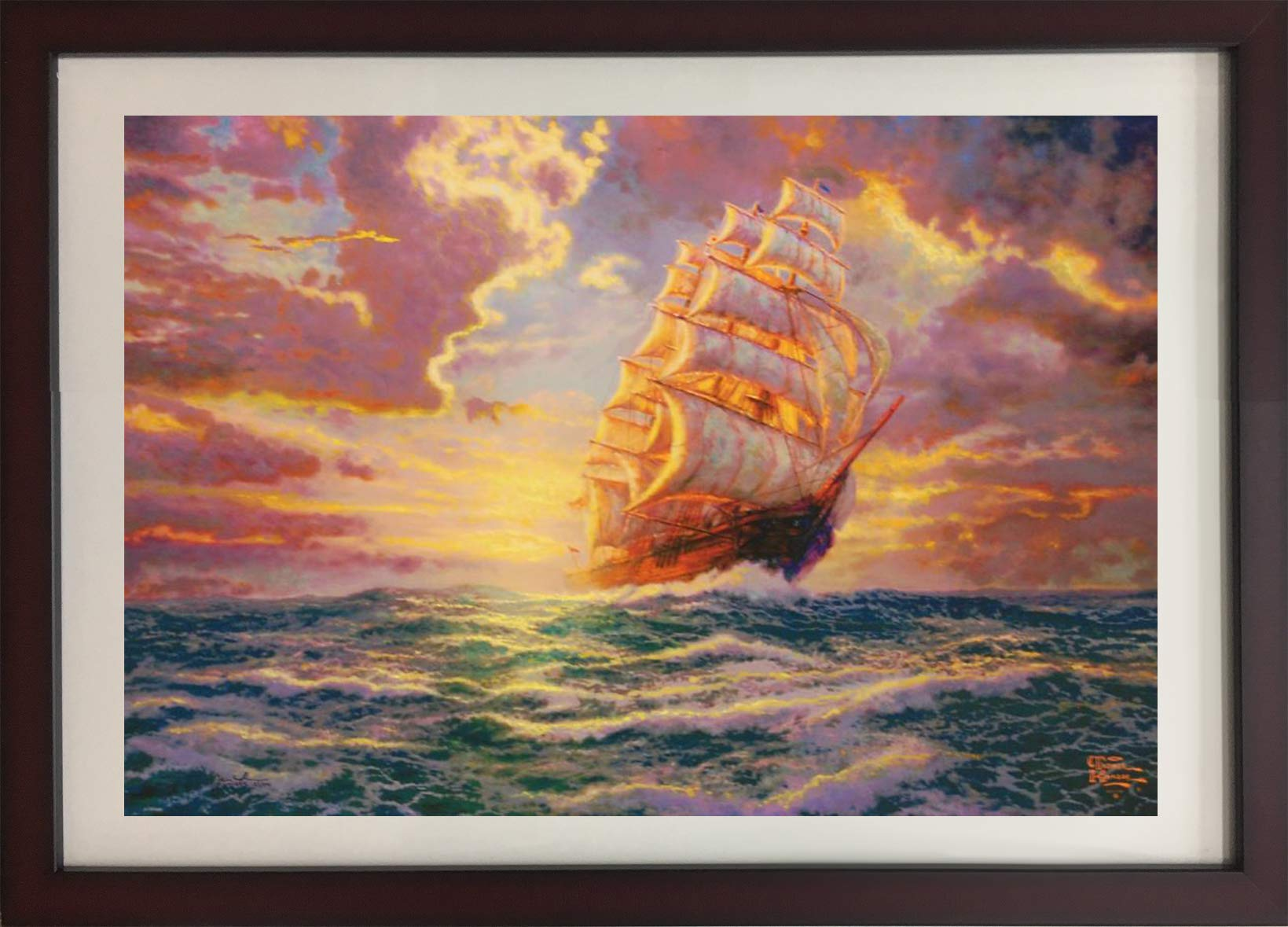 ''Courageous Voyage'' Original Thomas Kinkade Lithograph Fine Art Landscape Decorative by