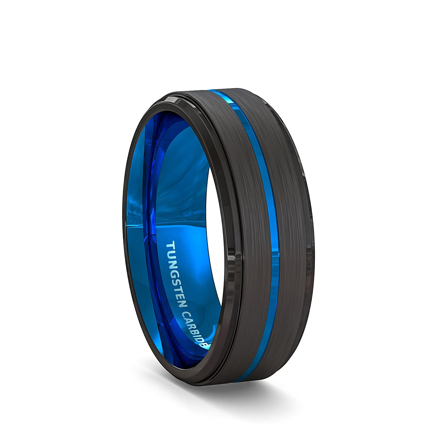 Duke Collections 8mm Mens Wedding Band Made in Durable Tungsten Carbide Black Matte Brushed Tungsten Ring for Men Thin Blue Groove Line Step Edge Comfort Fit