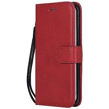 DENDICO Funda Galaxy S6 Edge Plus, Flip Libro Cuero Carcasa, Diseño Clásico Funda Plegable Cover para Samsung Galaxy S6 Edge Plus - Rojo
