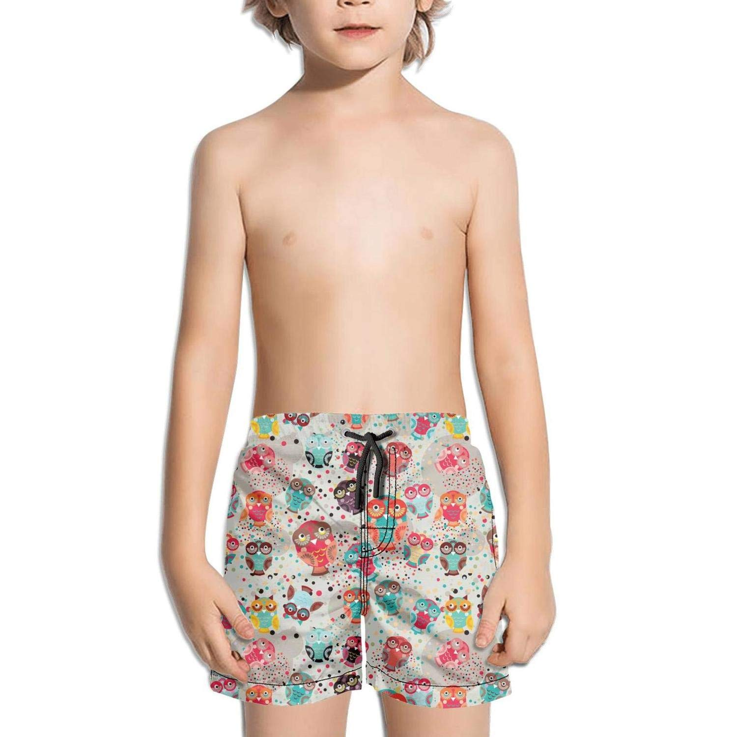 Boys Board Shorts Colorful Owls with Hearts Quick Dry Bathing Suits Beach Board Shorts