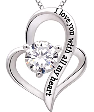 Amazon alov jewelry sterling silver i love you with all my alov jewelry sterling silver i love you with all my heart love heart cubic zirconia necklace aloadofball Image collections
