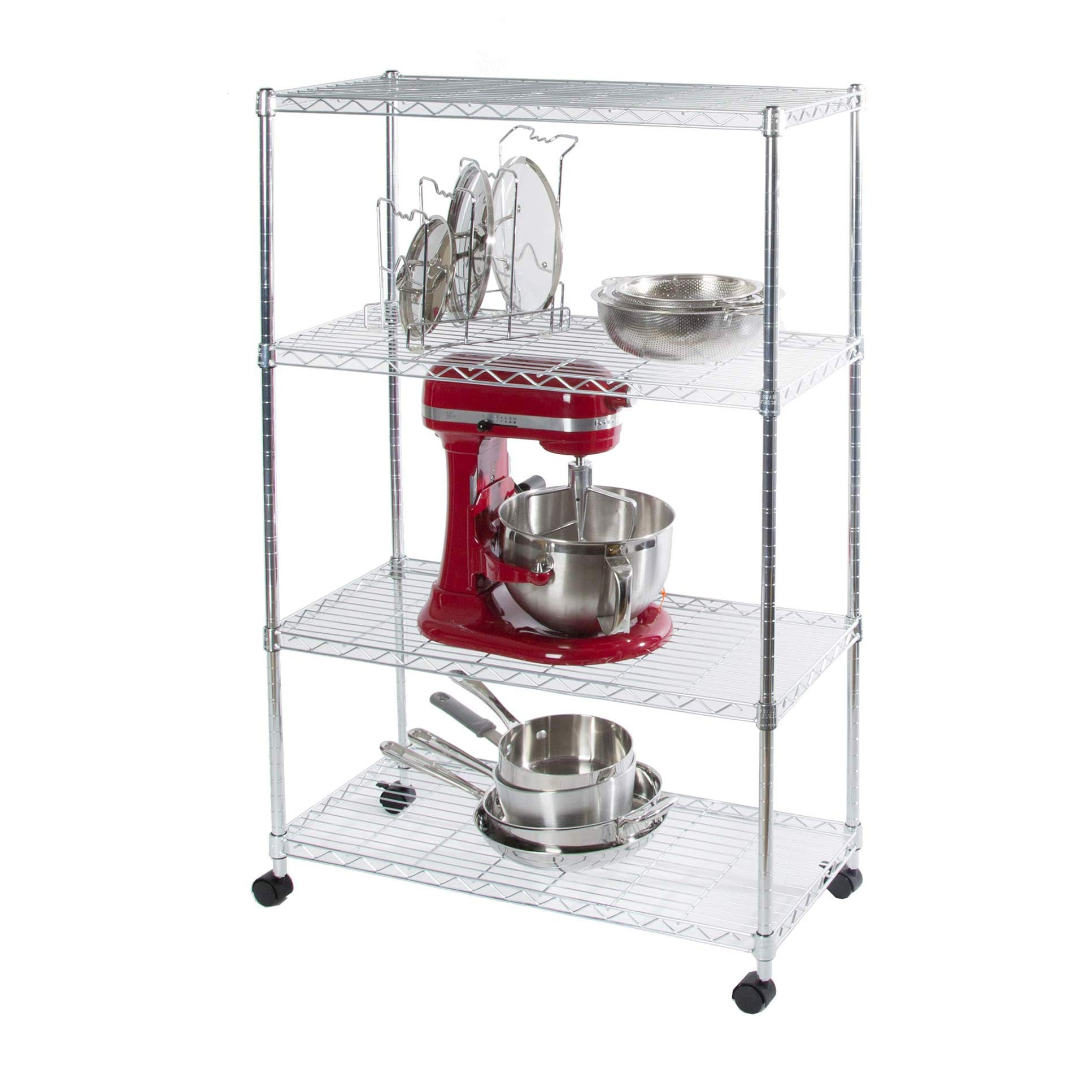"""Seville Classics 4-Tier Steel Wire Shelving with Wheels, 30"""" W x 14"""" D x 48"""" H, Chrome"""