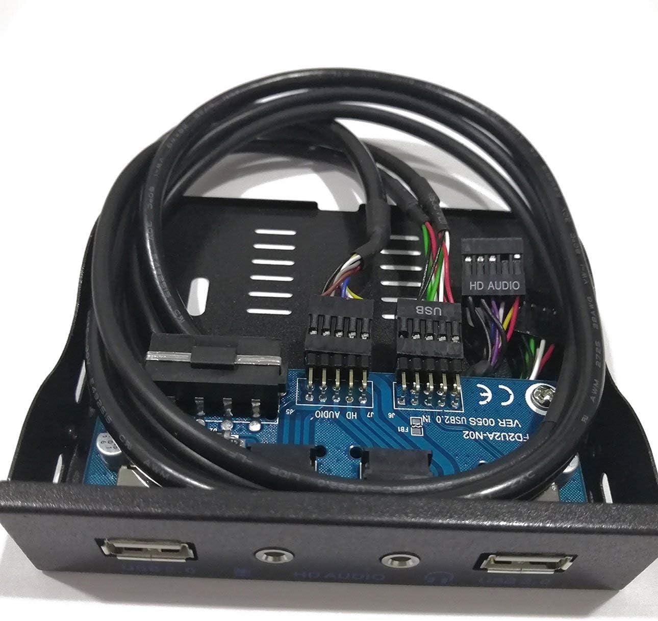 Pudincoco 3.5  2-USB 2.0 HUB Sortie Audio HD Extension du Lecteur de Disquette Panneau Avant Rack Mobile num/érique Extension pour Votre PC Noir